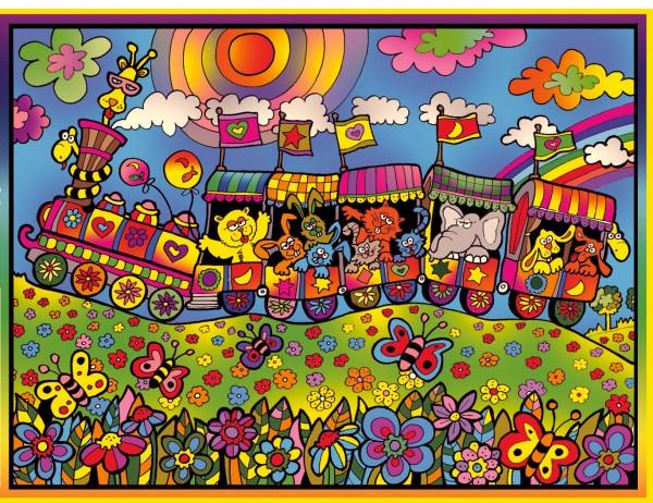 Samtbild, Color Velvet, Groß, ca. 47x35cm, Eisenbahnzug