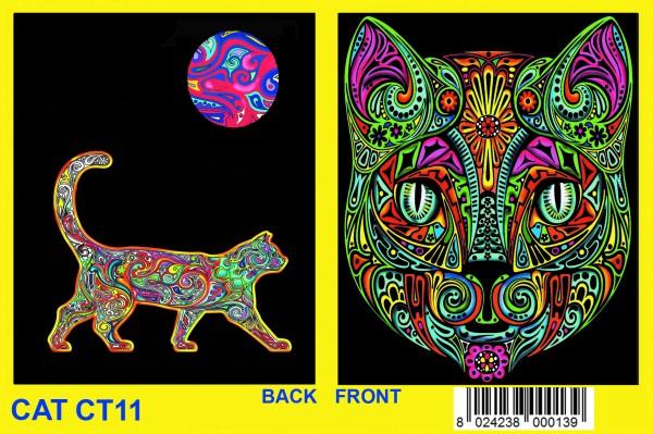 Elstic-Sammelmappe mit Samtbildern, Katze Phantasie
