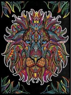 Samtbild, Color Velvet, Groß, ca. 47x35cm, Löwe Black