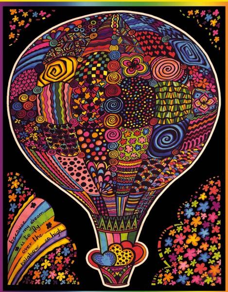 Samtbild, Color Velvet, Groß, ca. 47x35cm, Heißluftballon