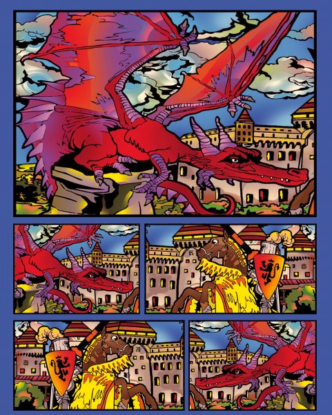 Samtbild, Color Velvet, Faltbox, ca. 24x17x13cm, Drachen