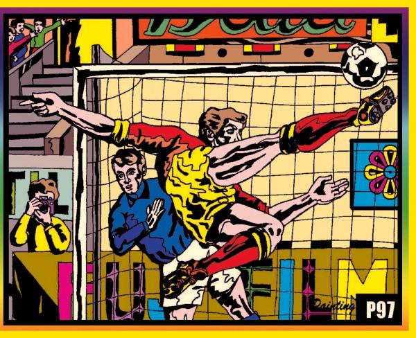 Samtbild, Color Velvet, Mittel, ca. 37x28cm, Fußball