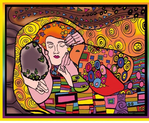 Samtbild, Color Velvet, Groß, ca. 47x35cm, Der Kuss von Klimt