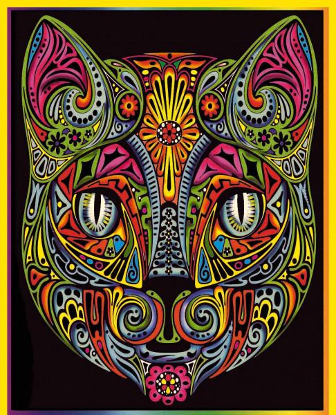 Samtbild, Color Velvet, Groß, ca. 47x35cm, Katze Mandala