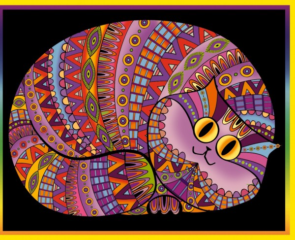 Samtbild, Color Velvet, Groß, ca. 47x35cm, Katze schlafend