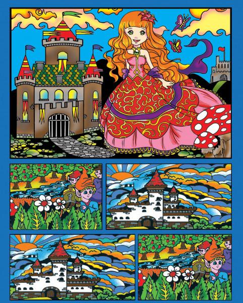 Samtbild, Color Velvet, Faltbox, ca. 24x17x13cm, Prinzessin