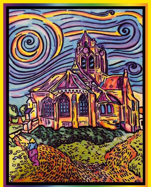 Samtbild, Color Velvet, Groß, ca. 47x35cm, Kirche van Gogh
