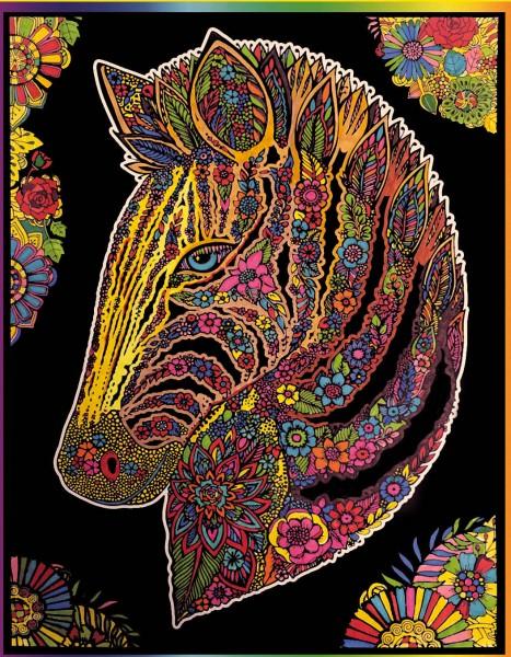 Samtbild, Color Velvet, Groß, ca. 47x35cm, Zebra