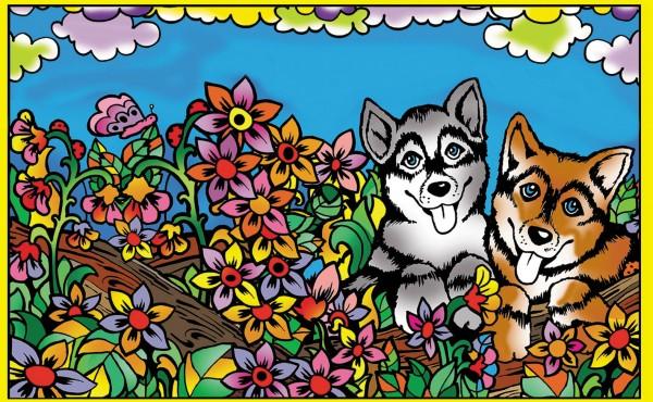 Ringbuchmappe mit Samtbildern, Hunde