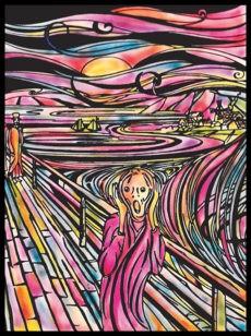 Samtbild, Color Velvet, Groß, ca. 47x35cm, der Schrei, von Munch