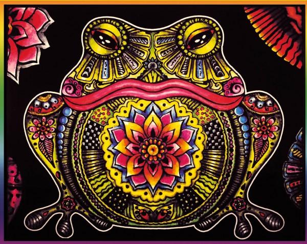 Samtbild, Color Velvet, Groß, ca. 47x35cm, Frosch